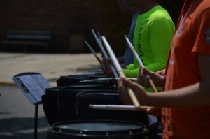 Drumline at band camp. Photo by Stacey Utt.