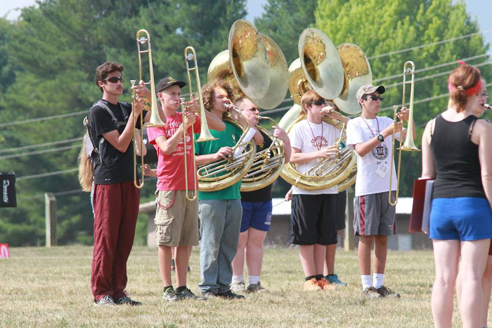This is a portion of the low brass section (t-bones, tubas, baritone horns) at band camp. That's Gaze there in the red shirt and gray shorts. Love these kids.  Photo by Stacey Utt.