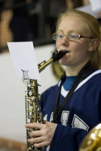 Bookworm with her sax.