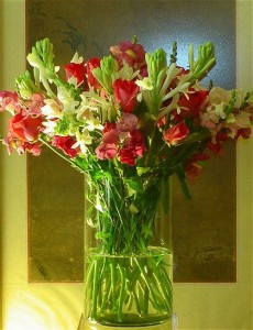 mixed flower tuberose arrangement