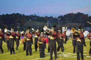 The PCHS band at a football game in October. That's Gaze nearly front and center, with the silver baritone horn. Photo by Fritz Streff.