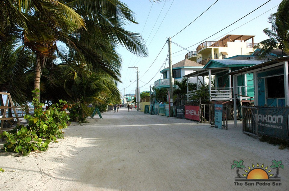 The main street on Caye Caulker.
