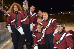 My Low Brass boys! I'm going to miss them. L-R back row: Isaac, Jeremy, Jake, James, and Gaze. Right in the center there is rookie Branden (whose big sister taught Gaze to march!), then Briggs and Lakin on the front row. Photo by Stacey Utt.